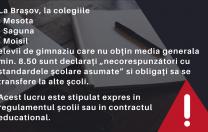 Trei Colegii Naționale din Brașov îi dau afară pe elevii de gimnaziu care obțin medii sub cele fixate de conducere