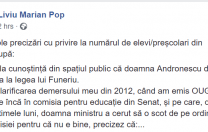 """Liviu Marian Pop o atacă pe Ecaterina Andronescu: """"E nevoie de consecvență în decizii, nu abrambureală!"""""""