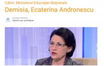 """Petiție a grupului civic """"Părinții cer schimbare"""": """"Demisia, Ecaterina Andronescu!"""""""