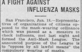 Istoria dezinformării se repetă. Liga anti-măști din timpul Gripei Spaniole, atracția conspiraționiștilor din secolul trecut