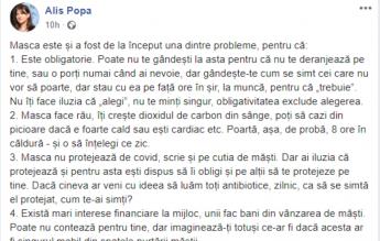 Cont prezentat ca fiind al unei profesoare la C.N. George Coșbuc, ambasador al teoriilor anti-mască pe Facebook